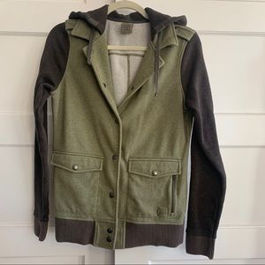 REI Button Down Hooded Sweater Jacket